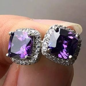 Purple Amethyst Diamond Halo Earrings Ear Ring